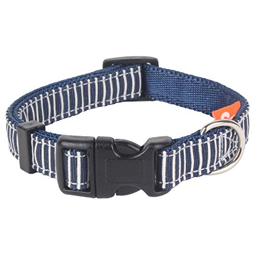 (Seoul Pet Supplies Stripe Adjustable Dog Collar for Small to Medium Dogs (Red Blue Brown) (Blue) )