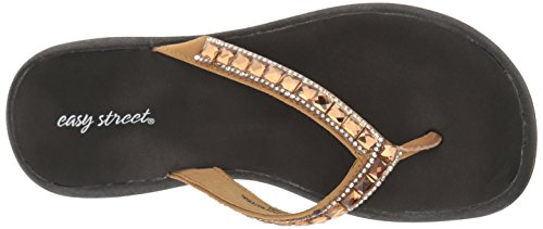 Easy Street Womens Token Flip Flop Rose Gold
