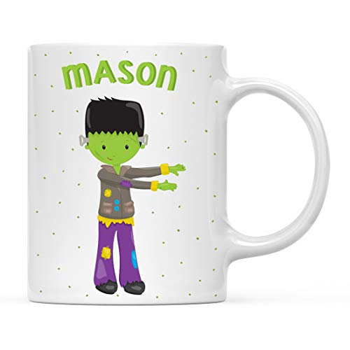 Andaz Press Personalized 11oz. Kids Milk Hot Chocolate Mug, Frankenstein Halloween Costume, 1-Pack, Custom Child's Birthday Christmas Coffee Cup]()