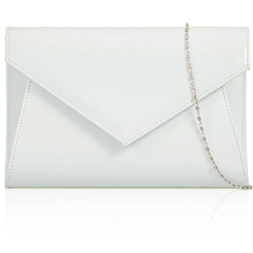 Medium Clutch Leather Gloss Envelope White Patent Party Evening Xardi Ladies Women Prom Off London Bags 1wqSTR