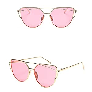 Vovotrade Fashion Twin-Beams Classic Women Metal Frame Mirror Sunglasses Cat Eye Glasses (Pink, 2.2)