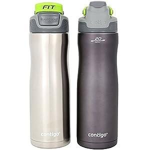 Contigo AUTOSEAL 20 Ounce Stainless-Steel Water Bottle, 2 Pack, Gunmetal (Gray)