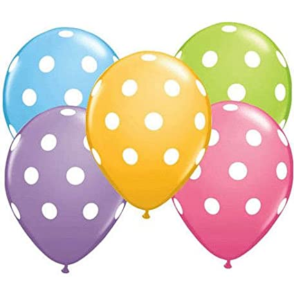 12 Polka Dot Balloons Bright Festive Colors Assorted