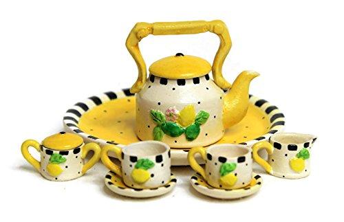 (Unique Design Dollhouse Miniature Semi Matte Look Finish Porcelain Tea Set, 10 pcs Set, Lemon Design, Hand-Painted, Miniature Fairy Garden Accessories, DIY Charm Pendant Jewelry Supplies. )