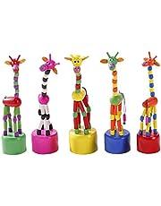 Toyvian 5pcs Wooden Giraffe Figurine Toys Giraffe Push Up Press Base Toy Dancing Rocking Giraffe Finger Puppets Kids Party Favors Gifts