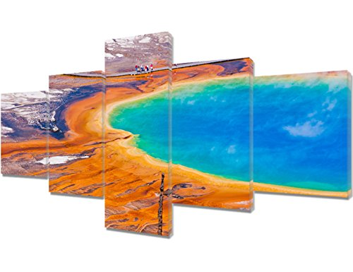Native American Decor Grand Prismatic Spring in Yellowstone National Park Paintings on Canvas 5 Piece Wall Art Home Decor for Living Room Framed Gallery-Wrapped Stretched Ready to Hang(50''Wx24''H)