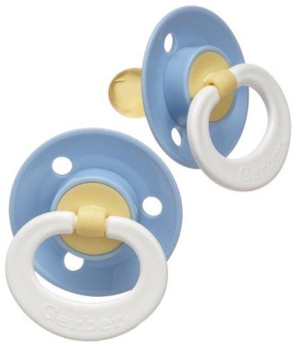 Gerber Nuk Latex (Gerber First Essentials 2 Pack Soft Center Latex Pacifier, Blue)