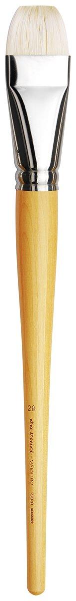 da Vinci Hog Bristle Series 7200 Maestro Artist Paint Brush, Bright Extra-Short Hand-Interlocked with Natural Polished Handle, Size 28 (7200-28)