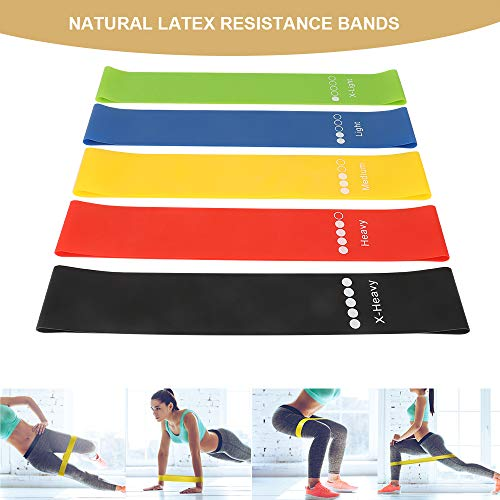 bedee Exercise Resistance Bands for Women and Men, Set of 5 Mini Resistance Loop Bands Workout for Home, Gym, Yoga, Pilates, Fitness Stretch Assisted Pull up Resistance Bands for Legs, Glutes, Arms