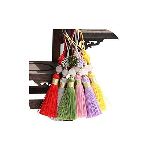 2PC 5CM Multicolor Polyester Chinese Knots Jade Beads Mini Tassels Jewelry Curtain Garments Decorative Accessories Craft Tassels,Mixed Colors ()