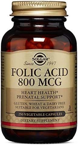 Solgar Folic Acid 800 mcg, 250 Vegetable Capsules