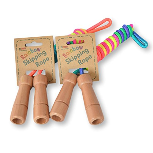 Daju Childrens Jump Rope | Rainbow Skipping Rope with Wooden Handles | Adjustable Length | Pack of 2