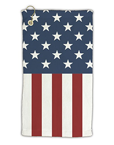 (TooLoud Stars and Stripes American Flag Micro Terry Gromet Golf Towel 15