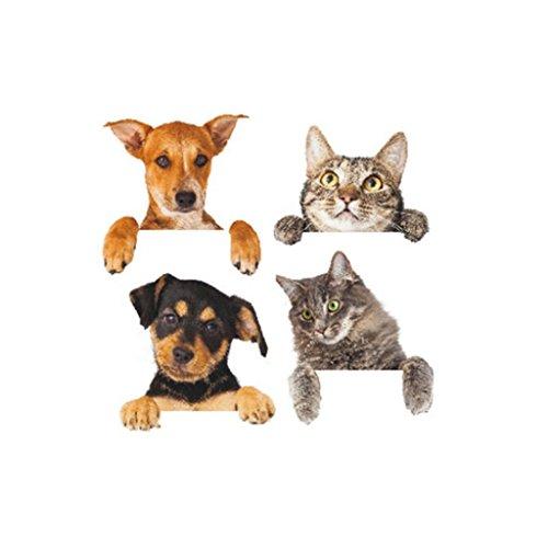 Colorido 4Pcs/Sheet Removable 3D Cute Dog Cat Wall Sticker Switch Decal Mural Art Decor