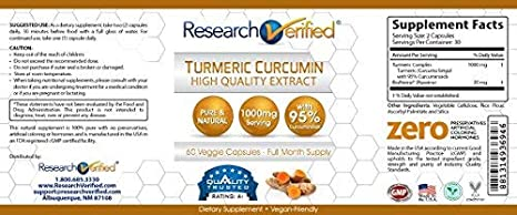 Amazon.com: Research Verified Turmeric Curcumin - Vegan with BioPerine, 95% Standardized Curcuminoids - Natural Anti-Inflammatory, Antioxidant, ...