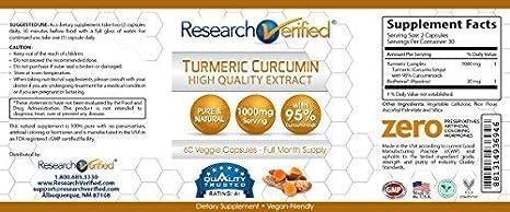 Amazon.com: Research Verified Turmeric Curcumin - Vegan with BioPerine, 95% Standardized Curcuminoids - Natural Anti-Inflammatory, Antioxidant, ...