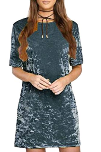 Crushed Velvet Women Summer Blue Dresses Sleeve Short Jaycargogo Mini Short XAIOqO