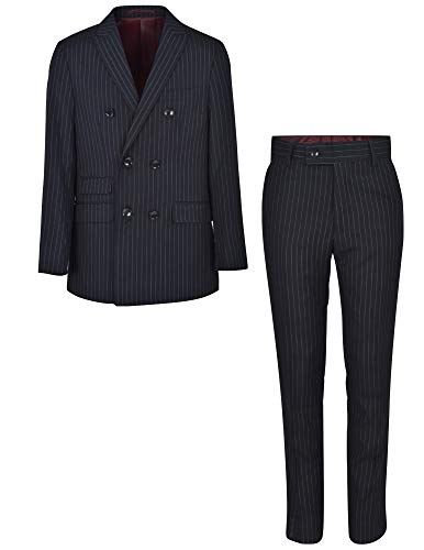 (Ike Behar Boys 2 Piece Black Pinstripe Suit Set Double Breast Jacket and Pants, 8)
