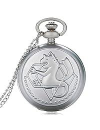Pocket Watch, Vintage Fullmetal Alchemist Silver Necklace Pocket Watch, Gifts for Men - Ahmedy Pocket Watch