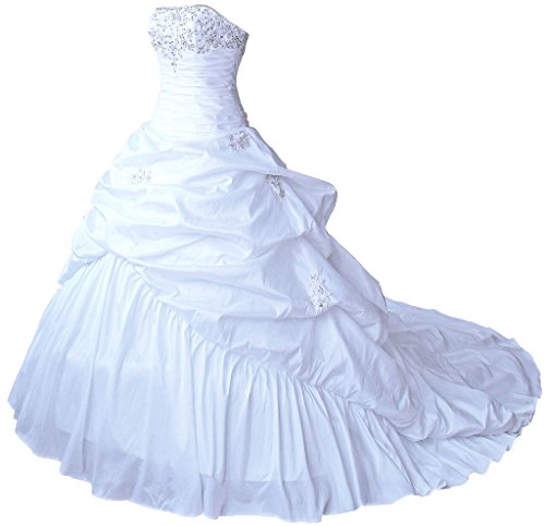 RohmBridal Women's Strapless Taffeta Wedding Dress Bridal Gowns White 8