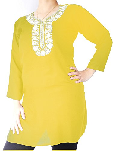 Linen Top with White Floral Embroidery (Yellow, 1X)