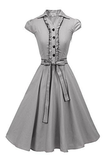 Vienna Summer Women's Romantic Modest Swing Vintage Party Dress, Gray S Teen Girls Grey Dress