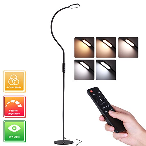 Dimmable LED Floor Lamp, AVAWAY Touch Reading Lamp with Adjustable Gooseneck, Standing Lamp with Remote, 5 Levels Brightness 5 Color Mode, Memory Function for Living Room, Bedrooms Office - Black