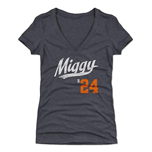 (500 LEVEL Miguel Cabrera Women's V-Neck Shirt X-Large Tri Navy - Detroit Baseball Women's Apparel - Miguel Cabrera Miggy Players Weekend Script O WHT)