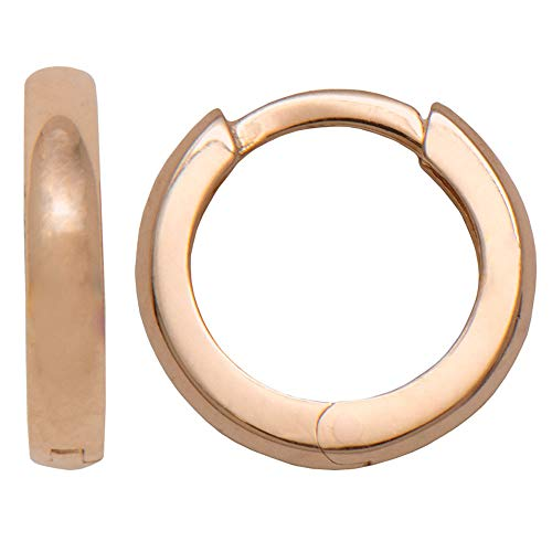 (14k Gold Classic Tiny Square-Tube Huggie Hoop Earrings (2.2mm Thick), 11.2mm (14k Rose Gold))