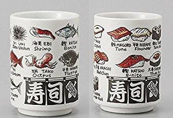 Japanese Porcelain Mino Yaki(ware) Yunomi Sushi Tea Cup Sushi and Fish Kanji Print,Set of 2 by Mino Ware