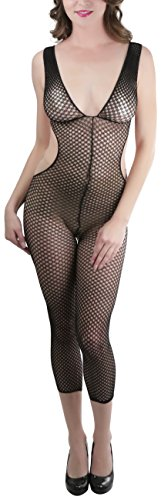 ToBeInStyle Women's Footless Crotchless Fishnet Bodystocking with Cut Out - Blk -