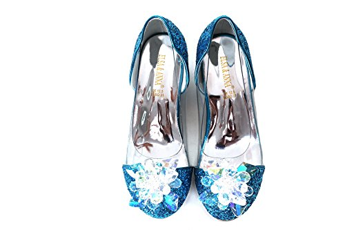 ELSA & ANNA® UK Latest Design Top Quality Girls Princess Snow Queen Wedged Party Shoes Sandals BLU14-SH (BLU14-SH, UK 11-Insole Length: 19.4cm)