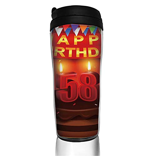 Stainless Steel Insulated Coffee Travel Mug,Party Surprise Chocolate Cake Fun,Spill Proof Flip Lid Insulated Coffee cup Keeps Hot or Cold 11.8oz(350 ml) Customizable printing