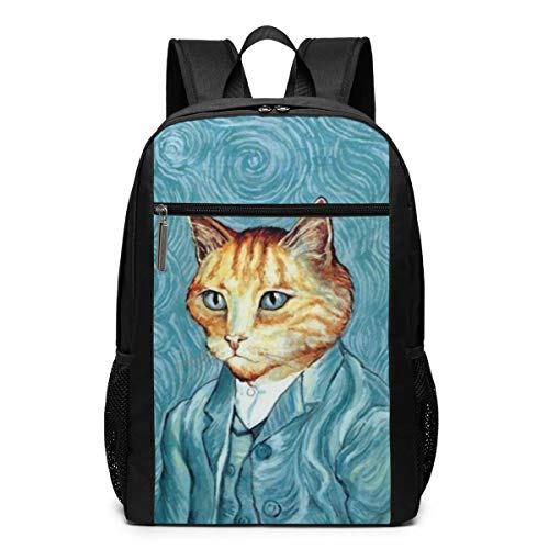 Self Portrait of Cat Art Office Backpack Adjustable Washable Book Bag with Pockets for Unisex Students Workers Outside ()