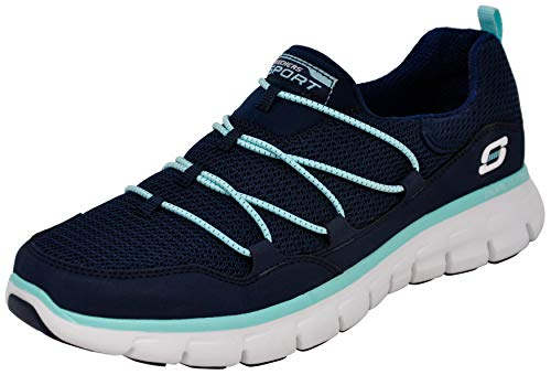 Skechers Sport Women's Loving Life Memory Foam Fashion Sneaker, Navy/Light Blue, 7.5 M US