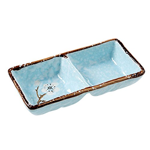 (SOCOSY 2 Compartments Ceramic Floral Sauce Dish Seasoning Dishes Sushi Dipping Bowl Appetizer Plate Divided Serving Dish(pink,blue,green))