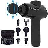 Ourcan Muscle Massage Gun, Powerful Cordless Handheld Deep Tissue Electric Body Muscle Massager, Pure Wave Quiet Brushless Motor for Sore Muscles (Black)
