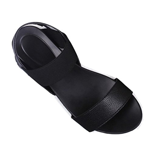 JJLOVE Women Comfort Simple Peep-Toe Roman Adjustable Strap Sandal Flat with Ankle Sandal Ladies Flip Flops Flat Slingback Shoes (Black, 40)