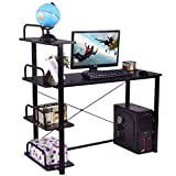 TANGKULA Computer Desk Modern Home Office Workstation with 4 Tier Bookshelves Wood Compact Laptop Writing Table Business Desk with Shelves, Black 002