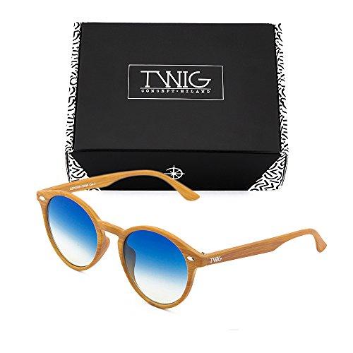 redondo madera TWIG sol Gafas Azul mujer Degradado estilo Chestnut FLAUBERT de hombre wRFXqY