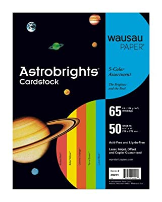 Wausau Astrobrights Premium Assorted Colored Paper #20221, 50 count 8.5in x 11in Lunar Blue,Terra Green, Cosmic Orange, Solar Yellow, Rocket Red.