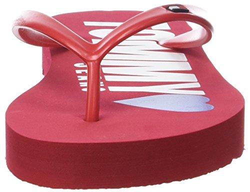 Hilfiger TJ Damen Zehentrenner Sandal Red Rot 611 Beach Love Denim Tango rgrqwpxSH