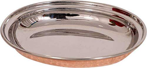 Copper Steel Serving Plate, Kadhai with Balti - Set of 4 x (Kadai, Tray, Balti)(Pack of 12) by MegaCraft