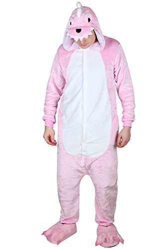[QinYing Unisex-adult Kigurumi Onesie Pajamas Party Dinosaur Cosplay Costumes Pink L] (Baby Sushi Costumes)