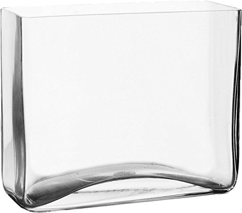 """Rectangle Vase, Clear Glass. H-8"""", Open 8"""" x 4"""" (1 pc)"""