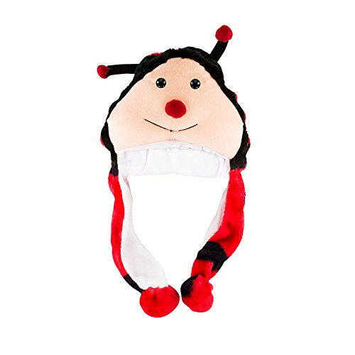 [Ladybug Unisex Polyester Plush Bug Critter Winter Hat Beanie Aviator Style (Short)] (Ladybug Soft Costumes)