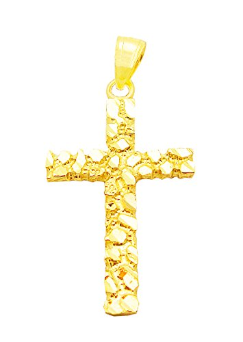 (US-Shopsmart Mens Womens 10k Yellow Gold Nugget Cross Pendant Gold Crucifix Charm)