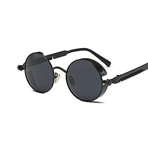 VeBrellen Gothic Hippie Retro Round Circle Frame Cyber Polarized Steampunk Sunglasses