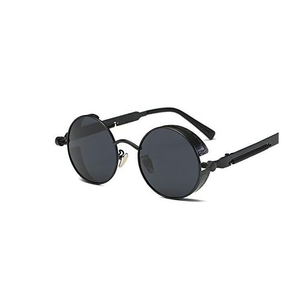 VeBrellen Gothic Hippie Retro Round Circle Frame Cyber Polarized Steampunk Sunglasses 3