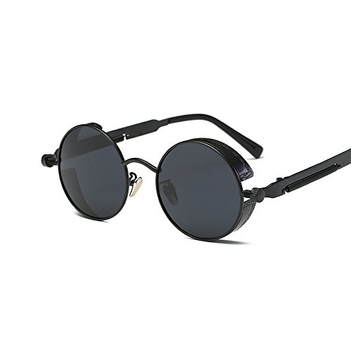 VeBrellen Men Gothic Hippie Retro Metal Round Circle Frame Cyber Goggles Polarized Steampunk Sunglasses (Black Frame With Gray Lens,C1, - Cyber Glasses